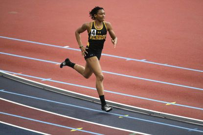 Mt. Hebron's Sierrah Matthews, pictured here running at the Howard County Indoor Track and Field Championships in January, was the top performer from the county at the 3A East region meet at Prince George's Sports and Learning Complex on Tuesday, Feb. 4, 2020. Matthews won the 300-meter dash and 500-meter run while also placing third as a member of the Vikings' 4x200-meter relay and second with the 4x400-meter relay.