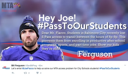 Sen. Bill Ferguson petitions Flacco to help with MTA S-Passes