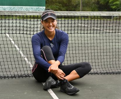 Professional tennis player Sophie Chang on her home court at her family's home in Havre de Grace.