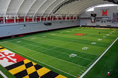 Jones-Hill House, is the new home of University of Maryland football. It features many areas including indoor and outdoor practice fields, strength and conditioning area, locker room and dining areas. June 4, 2021.