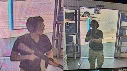 This CCTV image obtained by KTSM 9 news channel in El Paso shows a gunman, whom police identified as 21-year-old Patrick Crusius, as he enters the Cielo Vista Walmart store in El Paso on Saturday.