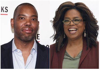 "This combination photo shows author Ta-Nehisi Coates at the The Gordon Parks Foundation Annual Awards Gala in New York on May 22, 2018, left, and Oprah Winfrey at an event to announce new Apple products in Cupertino, Calif. on March 25, 2019. Winfrey has selected Ta-Nehisi Coates' novel ""The Water Dancer"" as her next book club pick. (AP Photo)"