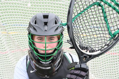 Atholton senior goalkeeper Kyleigh Eaton, who was a first-team All-County performer as a sophomore in 2019, is photographed during a girls lacrosse practice at the school on Thursday, April 29, 2021.