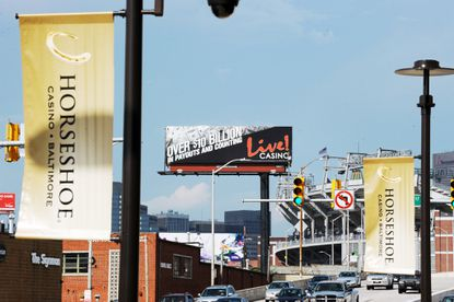 Maryland Live casino, of Arundel Mills, has placed several billboard advertisements along Russell Street near rival casino, the newly opened Horseshoe.