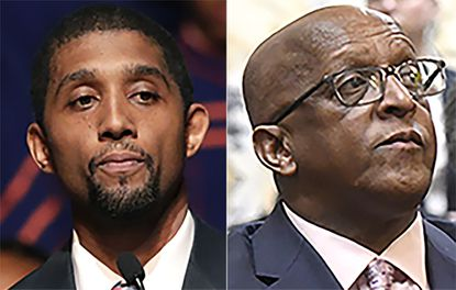 "Baltimore Council President Brandon Scott and Baltimore Mayor Bernard ""Jack"" Young got into a squabble at Wednesday's Board of Estimates meeting over the mayor's plan to hire nine staff positions in Mr. Scott's office over his explicit objections. (AP Photo, File)"