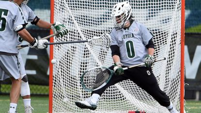 Loyola Maryland goalkeeper Jacob Stover during game against Syracuse in the first round of the NCAA men's lacrosse tournament.
