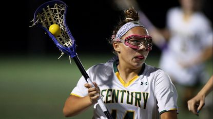 Century's Rachel Rubenstein in action during the Class 2A/1A girls lacrosse state semifinal between Century and Liberty in 2017.