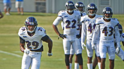 Owings Mills, Md.--8/2/17-- Ravens cornerback Marlon Humphrey (#29), left, practices during training camp at Under Armour Performance Center. Kenneth K. Lam/The Baltimore Sun sp-ravens-training-camp-0803 Lam