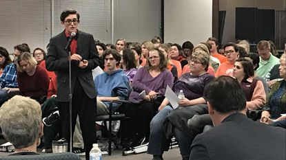 Christian Walker, the student representative on the Harford County Board of Education next year, talked to Superintendent Sean Bulson and the school board members about next year's proposed budget during an input session Monday night in Bel Air.