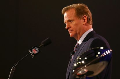 NFL commissioner Roger Goodell speaks during a press conference at the Phoenix Convention Center in advance of Super Bowl XLIX.