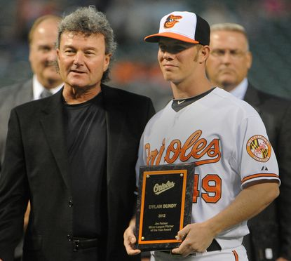 Shown are Rick Peterson, Director of Pitching Development for the Orioles and Dylan Bundy, who received the Jim Palmer award for Minor League Pitcher of the Year.