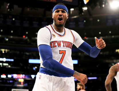 The Knicks' Carmelo Anthony reacts after he is called for a foul in the fourth quarter against the Bulls at Madison Square Garden on Jan. 12, 2017.