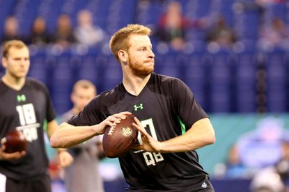 North Dakota State quarterback Carson Wentz performs a drill at the NFL scouting combine in Indianapolis on Feb. 27.