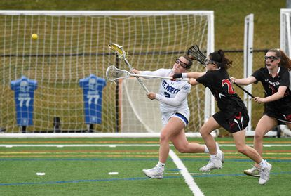 St. Mary's Gracie Driggs, pictured taking a shot against Maryvale on March 24, scored the game-winning goal against Gerstell on Wednesday in an IAAM A Conference playoff game.
