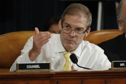Rep. Jim Jordan, R-Ohio, questions former Ambassador to Ukraine Marie Yovanovitch as she testifies before the House Intelligence Committee on Capitol Hill in Washington, Friday, Nov. 15, 2019, during the second public impeachment hearing of President Donald Trump's efforts to tie U.S. aid for Ukraine to investigations of his political opponents.