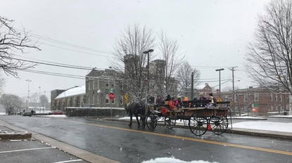 On Saturdays in December, members of the community can visit with Santa from noon to 4 p.m. right in front of the Westminster branch of the Carroll County Public Library, and then, catch a free carriage ride through downtown Westminster.