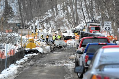 The State Highway Administration expects its project to shore up a portion of Route 24, along the banks of Deer Creek in Rocks State Park will take several more months to complete. Weather and issues with utilities have delayed the project.