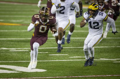 Rashod Bateman led the Golden Gophers in receiving through five starts (36 receptions, 472 yards, 13.1 yards per catch, team-high two touchdowns) but opted out for the remainder of the season after the team's game with Wisconsin was canceled due to positive COVID tests.
