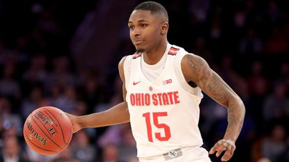 Ohio State's Kam Williams (Mount Saint Joseph) dribbles in the second half against Penn State during the Big Ten quarterfinals at Madison Square Garden on March 2, 2018, in New York.