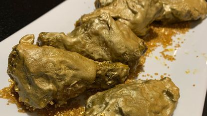 """The Civil, a new restaurant coming to the former G.A.Y. Lounge space in Mount Vernon, will serve """"24-carat"""" gold chicken wings. A secret sauce gives them their golden color."""