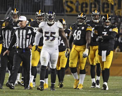 Ravens linebacker Terrell Suggs was penalized for unnecessary roughness on Steelers running back LeGarrette Blount in the third quarter.