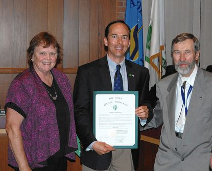 Bel Air Mayor Robert Reier, center, presents presents a proclamation designating June 4 as Narva Days in Bel Air, to coincide with a festival that will be held in Narva, Estonia, a sister city to Bel Air. With him are Barbara Tower and Toivo Tagamets of the Maryland - Estonia Exchange Council.