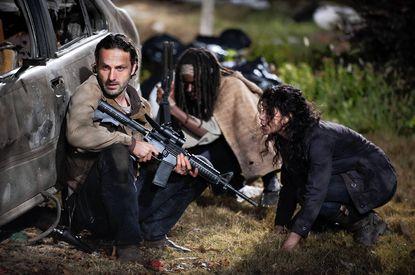 """Andrew Lincoln, left, Danai Gurira and Melissa Ponzio in """"The Walking Dead."""""""