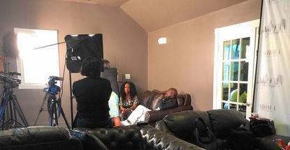 """Media entrepreneur and """"Dana's Lane"""" talk show host Dana Dayne prepares to shoot her second episode with Hollywood actor Clifton Powell on July 6 at the Aroma Cigar Lounge on Main Street in Laurel as an effort to draw more attention to the growing city."""