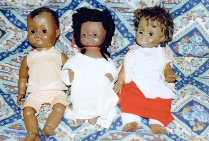 A collection of dolls owned by Mabel Hart reflects the limited range of skin tones available when Diedre Ware was a girl.