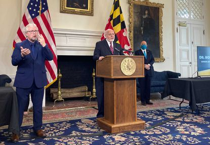 Dr. Robert Redfield, current advisor to Gov. Larry Hogan and former CDC director, speaks to the press in the Maryland State House on March 9, 2021. (Bryn Stole/Baltimore Sun).