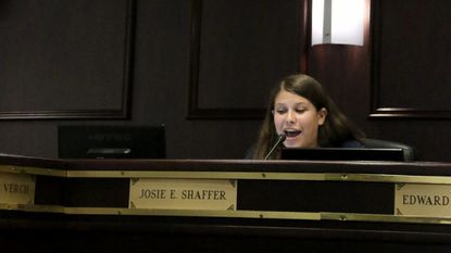 Josie Shaffer, a senior at Pikesville High School, serves on the Baltimore County school board. Her student member term runs through June.