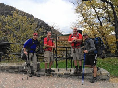 From left, Josh Levy, Scott Frohme, Sean Hallinan and Graham McGee on the Maryland portion of the Appalachian Trail. Covering 42.5 miles in just three days, they hiked the trail from Pen-Mar Park at the Maryland-Pennsylvania line to Harper's Ferry, W Va.