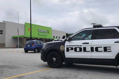 Springfield police respond to a Walmart in Springfield, Mo., on Aug. 8, 2019, after reports of a man with a weapon in the store.