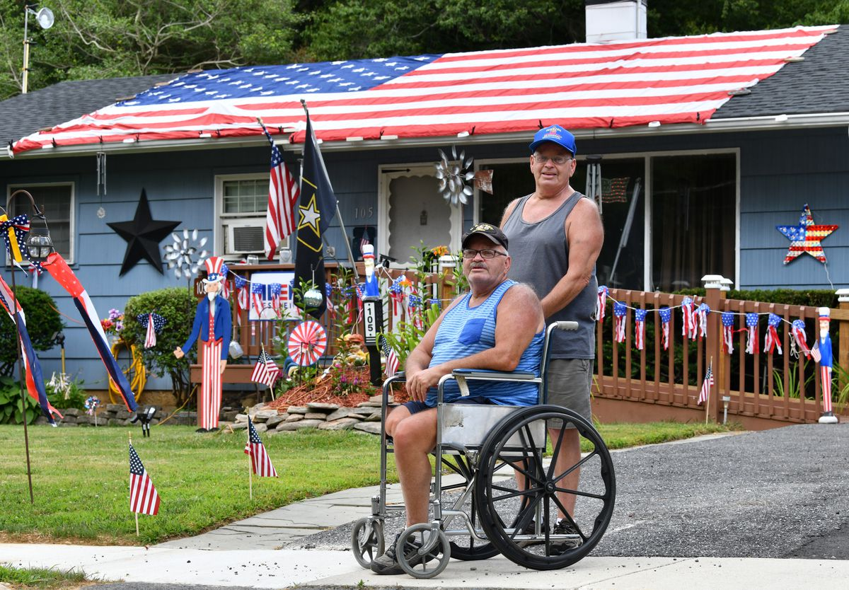 Kerr brothers, whose Bel Air home is usually known for Christmas decor, show their patriotic spirit for July 4