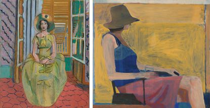 "At left, Henri Matisse's early 20th-century painting ""The Yellow Dress."" At right, Richard Diebenkorn's 1967 work, ""Seated Figure with Hat.""  Henri Matisse. The Yellow Dress. 1929-31. The Baltimore Museum of Art ©2016 Succession H. Matisse / ARS NY Richard Diebenkorn. Seated Figure with Hat. 1967. National Gallery of Art. Washington, D.C. ©2016 The Richard Diebenkorn Foundation - Original Credit:"
