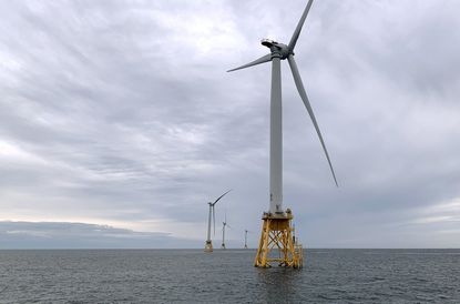 Deepwater Wind's turbines stand in the water off Block Island, R.I. on Friday, Aug. 23, 2019. (AP Photo/Rodrique Ngowi)