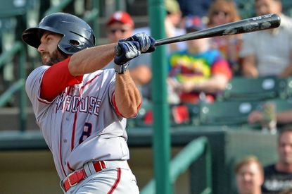 Steve Lombardozzi, a 2007 graduate of Atholton, takes a swing during a game for the Syracuse Chiefs, the Washington Nationals' Triple-A affiliate. Lombardozzi is back with the organization after spending time with the Detriot Tigers, Baltimore Orioles and Pittsburgh Pirates.