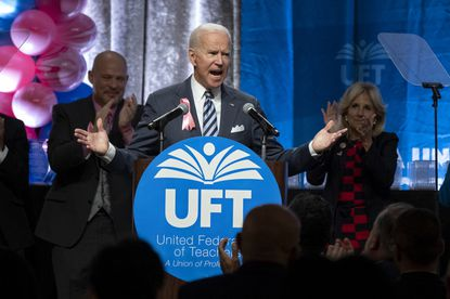 Democratic presidential candidate former Vice President Joe Biden speaks at the United Federation of Teachers annual Teacher Union Day Sunday, Oct. 20, 2019, in New York. (AP Photo/Craig Ruttle)