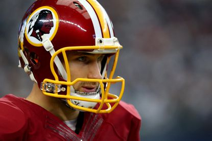 ARLINGTON, TX - JANUARY 03: Kirk Cousins #8 of the Washington Redskins looks on before the Redskins take on the Dallas Cowboys at AT&T Stadium on January 3, 2016 in Arlington, Texas. (Photo by Ronald Martinez/Getty Images) ** OUTS - ELSENT, FPG, CM - OUTS * NM, PH, VA if sourced by CT, LA or MoD **