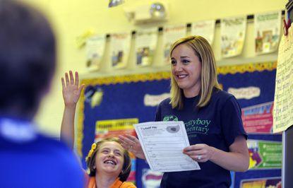 Abby Katherman, a fifth grade teacher at Prettyboy Elementary School, teaches her homeroom class.