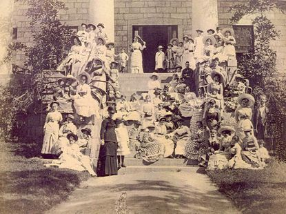 Patapsco Female Institute was a school for girls from 1837 until 1891; this photo was taken in the 1880s. The students learned botany, chemistry, mathematics and foreign languages. Photo courtesy of Howard County Department of Recreation & Parks.