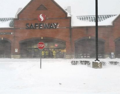 The portion of the roof over the produce section of the Safeway on Brierhill Drive in Bel Air collapsed partially under the weight of snow Saturday afternoon.