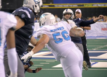 Baltimore Brigade kicker Mark Lewis nails an extra point against the Philadelphia Soul during Arena Football League semifinals.