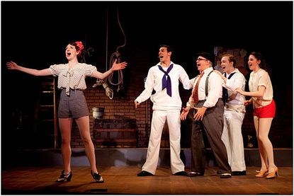 """From left, Darien Crago (as Joan), Cody Davis (as Lucky), Erick Buckley (as Hennessey), Eric Huffman (as Dick) and Megan Kelley (as Ruby) sing '""""Good Times are Here to Stay'"""" during Infinity Theatre''s production of '""""Dames at Sea.'"""""""