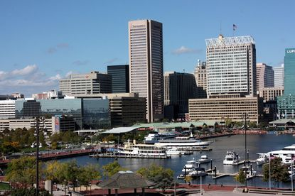 Baltimore's inner harbor from Federal Hill