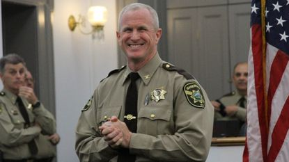 Sheriff Bill McMahon, shown at his swearing in two years ago, was elected to a four-year term.