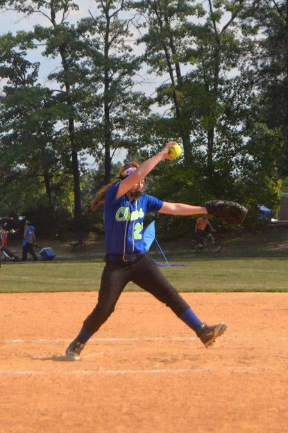 Catonsville's Dani Barklow, 10, was the winning pitcher in the championship game for the 12U Chaos softball squad the won the Howard County Summer Sizzler tournament.