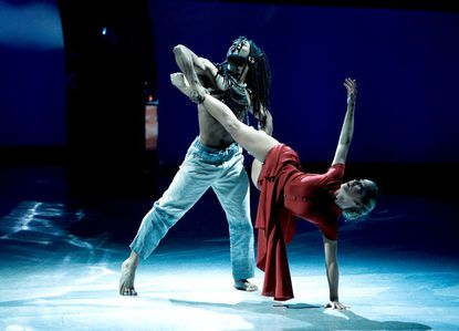 """Top 8 contestant Jessica Richens (R) and all-star Will Wingfield perform a Contemporary routine to """"Earth Song,"""" choreographed by Mandy Moore."""