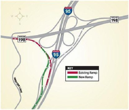 The State Highway Administration is opening a new ramp from Route 198 onto Interstate 95.