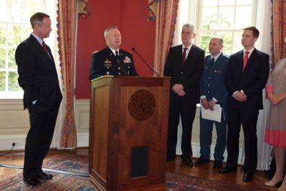 Gen. Frank J. Grass touts the benefits of the partnerships between the Maryland National Guard and the militaries of Estonia and Bosnia-Herzegovina at an anniversary celebration Monday in Annapolis. Joining him at Government House are Gov. Martin O'Malley; Zekerijah Osmic, defense minister of Bosnia and Herzegovina; Lt. Col. Dzevad Buric, military liaison of Bosnia and Herzegovina to the Maryland National Guard; and Mikk Marran, permanent secretary of defense of Estonia.